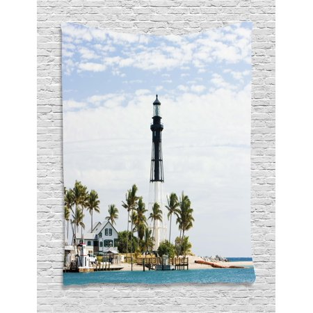 United States Tapestry, Hillsboro Lighthouse Pompano Beach Florida Atlantic Ocean Palms Coast, Wall Hanging for Bedroom Living Room Dorm Decor, Blue White Green, by Ambesonne