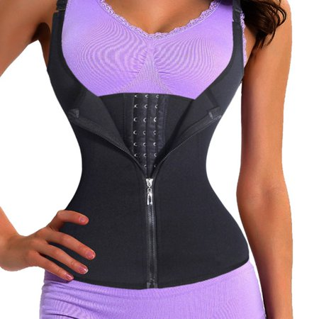 20bd72ed3f9 Neoprene Waist Trainer Vest Sweat Corset Zipper Hook Body Shaper Tummy  Control - image 1 of ...