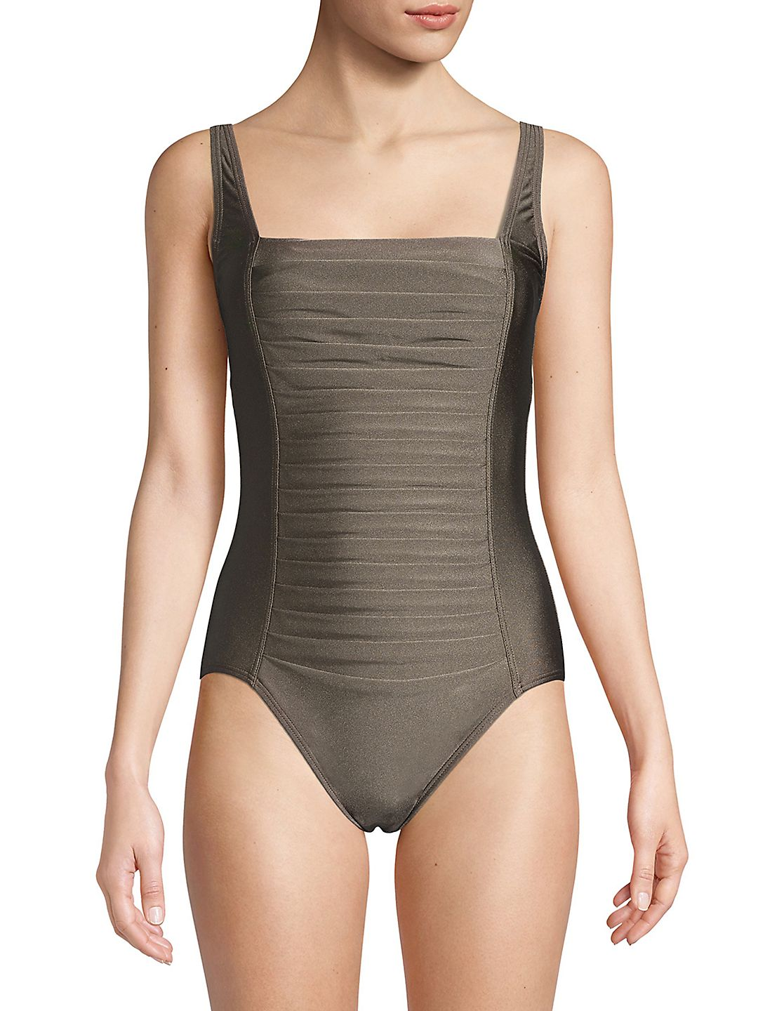 Pleated One-Piece Swimsuit
