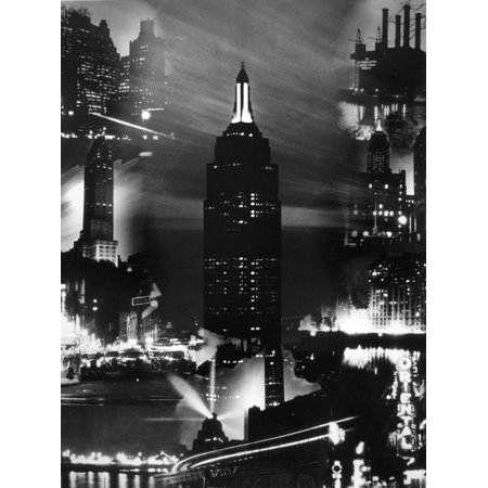 1930s Montage of New York City Buildings at Night with Empire State Building in Center Print Wall Art](Empire State Building Halloween Night)