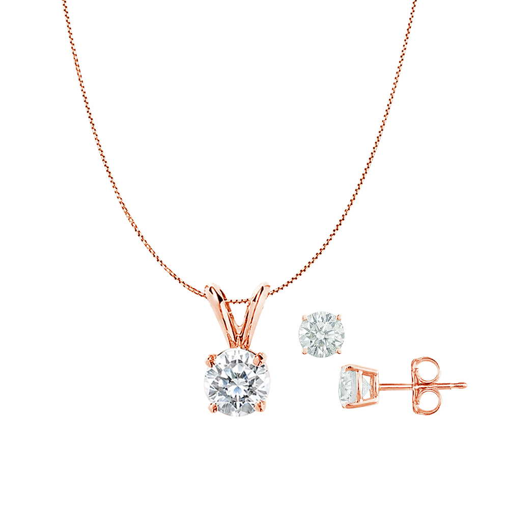 Cubic Zirconia Pendant and Earrings Set in Rose Gold - image 2 of 2