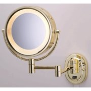 """SeeAll 8"""" Polished Brass Finish Dual Sided Surround Light Wall Mount Makeup Mirror (Hardwired Model) By TechnologyLK"""