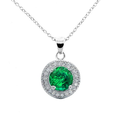 Cluster Jewelry - Mariah 18k White Gold Round Cut CZ Halo Gemstone Pendant Necklace - Cubic Zirconia Halo Cluster Necklace w/Green Emerald Solitaire Crystal - Wedding Anniversary Jewelry, MSRP - $150