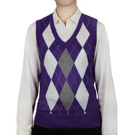 Ladies Argyle Sweater Vest - Purple Argyle Sweater Vest