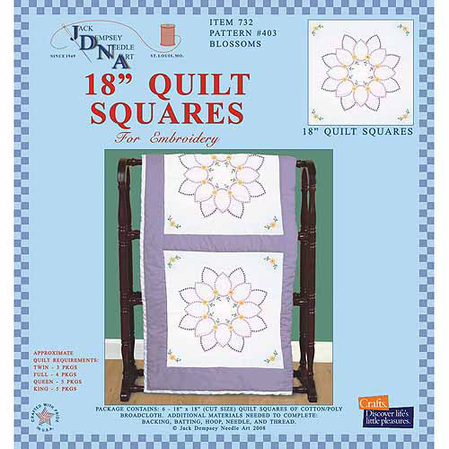 "Stamped White Quilt Blocks 18""X18"" 6/Pkg-Blossoms"