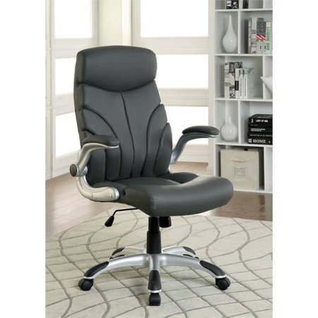 furniture of america haitex leather office chair in gray