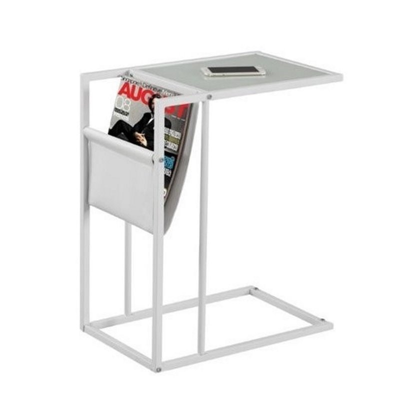 Atlin Designs Metal End Table with Magazine Rack in White by Atlin Designs