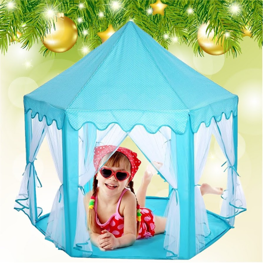 Girls Princess Fairy Tale Castle Play Tent, - Foldable Playhouse for Indoor & Outdoor Use w/ Zipper Storage Case