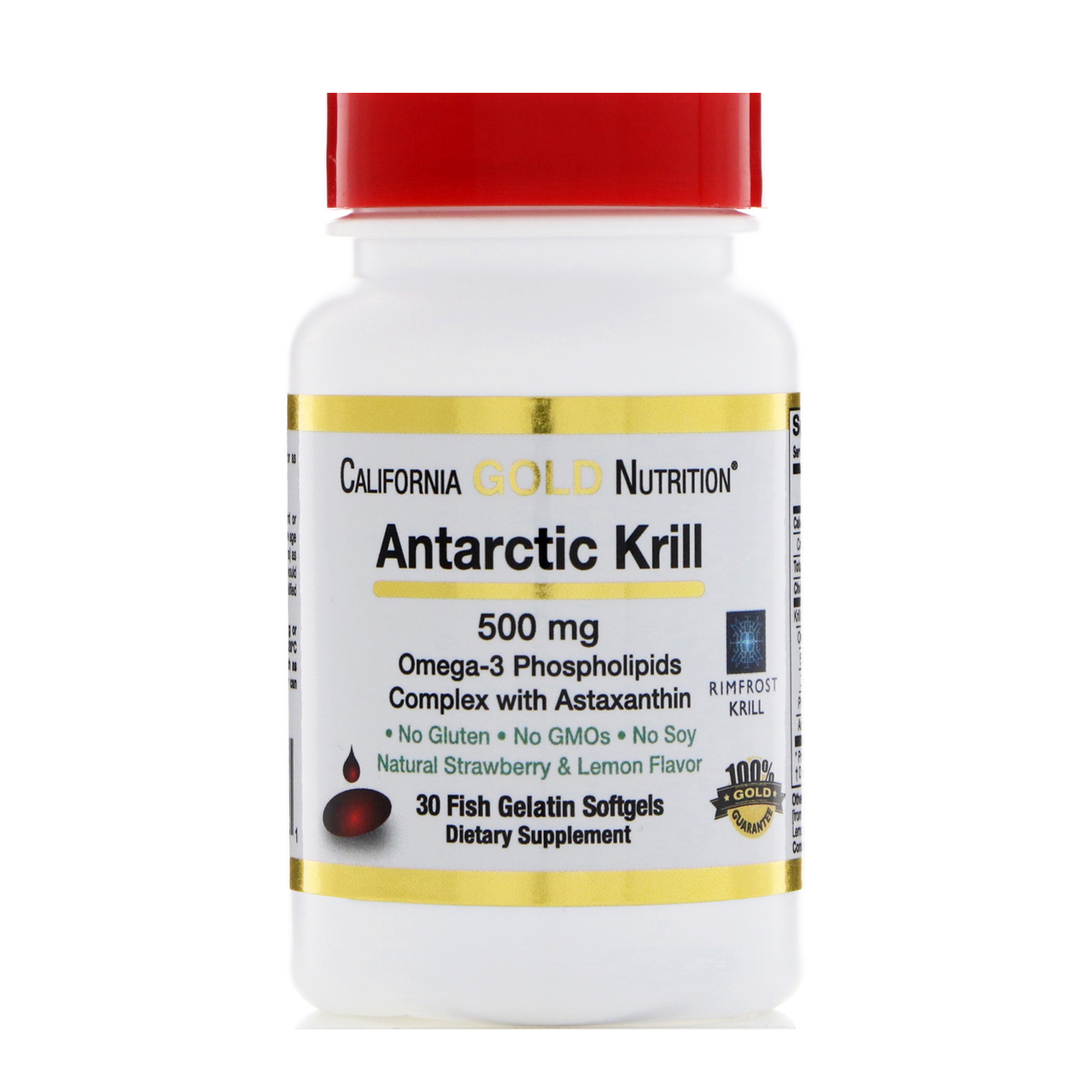 California Gold Nutrition  Antarctic Krill Oil  with Astaxanthin  RIMFROST  Natural Strawberry   Lemon Flavor  500 mg  30 Fish Gelatin Softgels