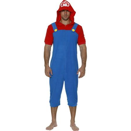 Men's Nintendo Character Pajama Lounge Onesies,Robes, Super Mario, Luigi, Yoshi, Bowser, Zelda, Super Mario, Size: - Mario Luigi Outfits