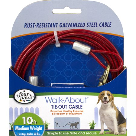 10 Tie Out (Four Paws Medium Weight Red Tie Out Cable 10 feet for)