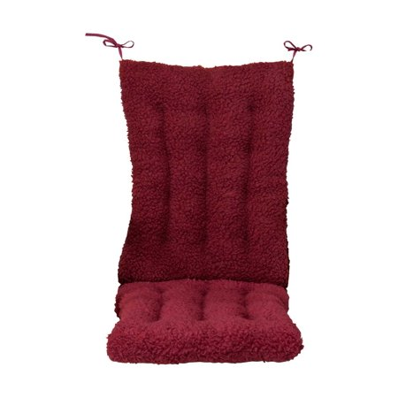 "Miles Kimball WalterDrake Sherpa Cushion Set for Rocking Chair, Set of 2 Cushions with Burgundy Color – Back Cushion of 22.5"" x 17"" x 3"" & Seat Cushion of 18.5"" x 17"" x 3"", Cushions for Rocking Chair"