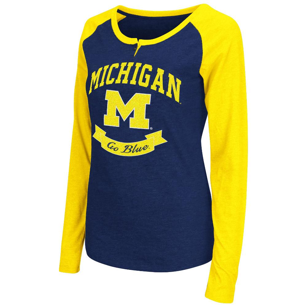 Womens NCAA Michigan Wolverines Long Sleeve Raglan Tee Shirt (Team Color)