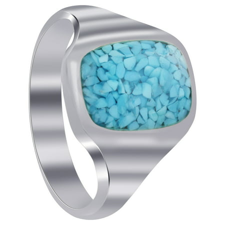 Gem Avenue Men's 925 Sterling Silver Simulated Turquoise Chip Inlay Ring