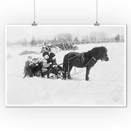 - Children on Pony Drawn Sled Photograph (9x12 Art Print, Wall Decor Travel Poster)