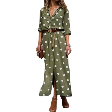 Casual Sun Dress Women Button Down Long Skirt Polka Dot Shirt Dress Long Sleeve Split V-Neck Party Club Lounge Outdoors Outfit Dresses for Ladies
