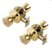 Lion Locks LIO0108 Tulip Keyed Entry Door Knob, Polished Brass, 2-Pack