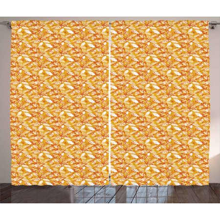 - Autumn Curtains 2 Panels Set, Fall Season Foliage Pattern with Warm Colored Background Leaf Silhouettes, Window Drapes for Living Room Bedroom, 108W X 63L Inches, Marigold Orange White, by Ambesonne