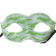 Naughty Petite Mardi Gras Costume Mask - Green/Silver