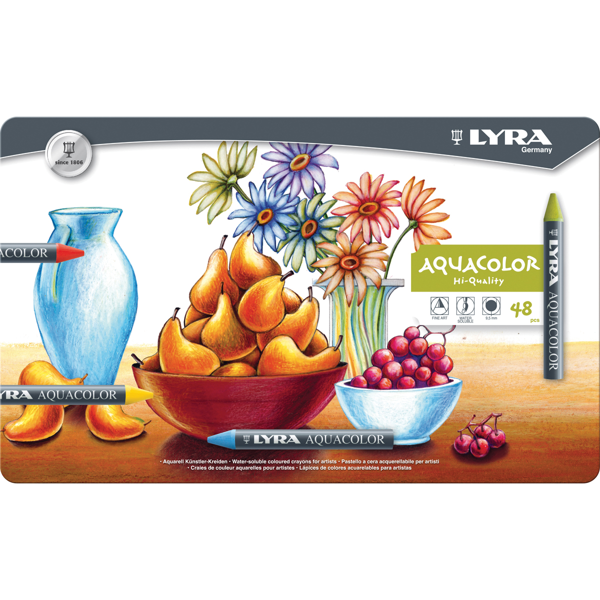GE Monogram® Lyra Aquacolor Water-Soluble Crayons 48/Pkg-Assorted Colors