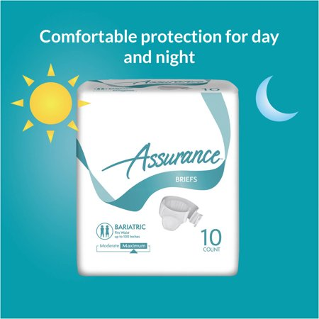 Assurance Incontinence Briefs Unisex  Maximum Strength  Bariatric  10 Ct  4 Pk