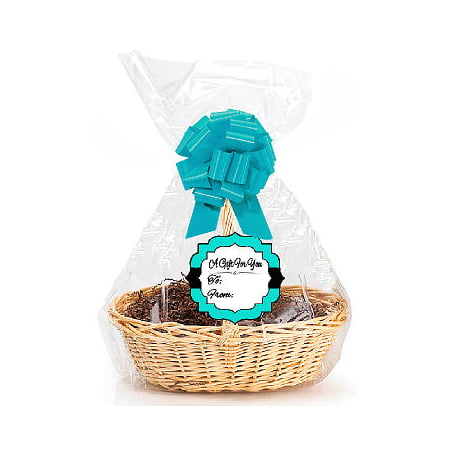 "Turquoise  2Pack Designer Cello Bags / Tags / Bows Cellophane Extra Large Gift Basket Packaging Bags Flat 25"" X 30"""