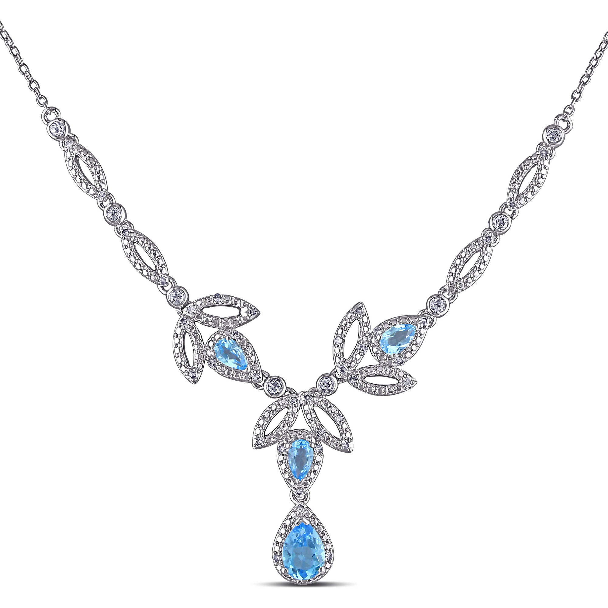 "Tangelo 2 Carat T.G.W. Blue and White Topaz with 1 5 Carat T.W. Diamond Sterling Silver Leaf Design Necklace, 17"" by Tangelo"