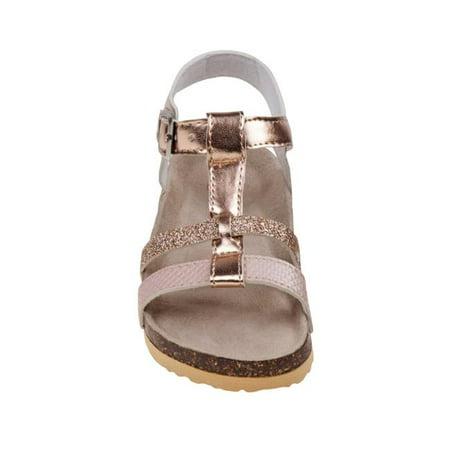 Laura Ashley O-LA81224SROSG3 T-Strap Cork Lining Sandals for Toddler Girls, Rose Gold - Size 3