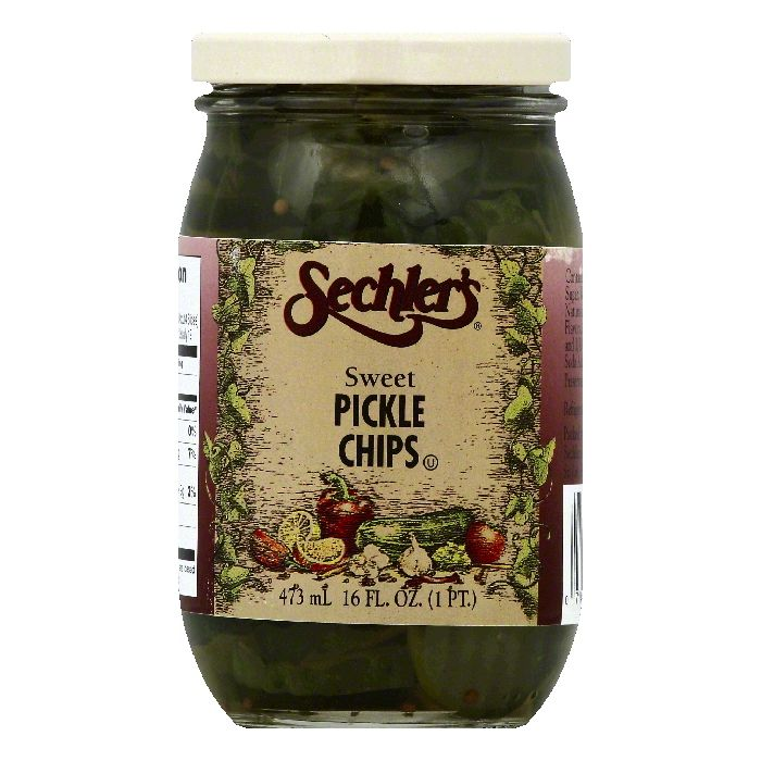 Sechlers Sweet Pickle Chips, 16 OZ (Pack of 6)