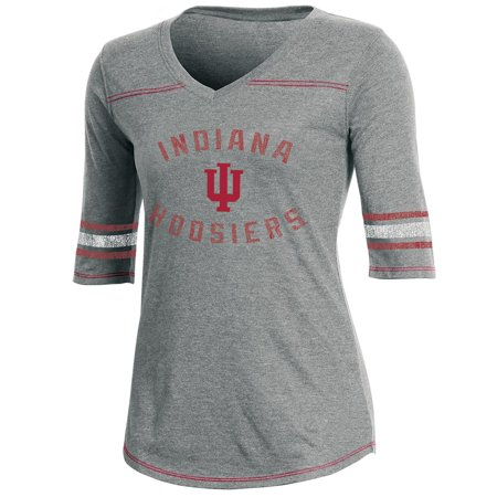 (Women's Russell Heathered Gray Indiana Hoosiers Fan Half-Sleeve V-Neck T-Shirt)