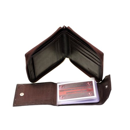 e0401a9e1fbe Men Bifold Wallet Zipper Closed Zip Around Removable Card Holder Genuine  Leather