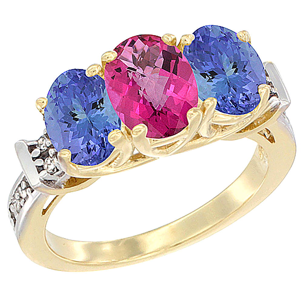 14K Yellow Gold Natural Pink Topaz & Tanzanite Sides Ring 3-Stone Oval Diamond Accent, sizes 5 10 by WorldJewels