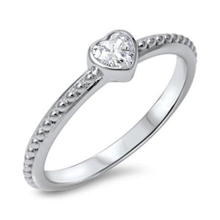 Small Heart Clear CZ Fashion Ring ( Sizes 4 5 6 7 8 9 10 ) New .925 Sterling Silver Ball Band Rings by Sac Silver (Size 8)