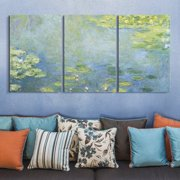 "wall26 3 Panel Canvas Wall Art - Waterlilies by Claude Monet - Giclee Print Gallery Wrap Modern Home Decor Ready to Hang - 24""x36"" x 3 Panels"