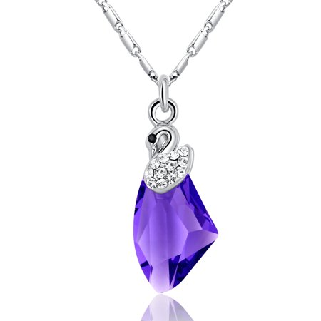 Drop Swarovski Elements (Galactic Drop Swan Swarovski Elements Crystal White Gold Plated Women's Pendant Necklace - Purple)