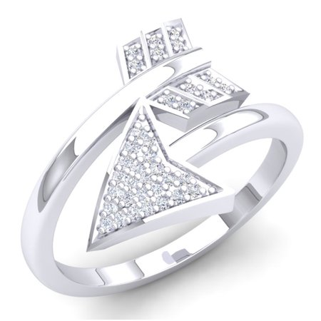 Vintage Style Right Hand Ring (0.15 Carat (ctw) Sterling Silver Round White Diamond Ladies Bridal Vintage Right Hand Arrow Ring)