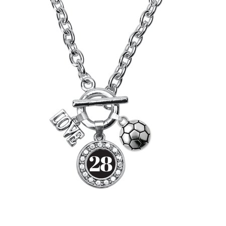 My Sports Number Circle Charm Soccer Toggle Necklace- Number - Soccer Necklaces With Number
