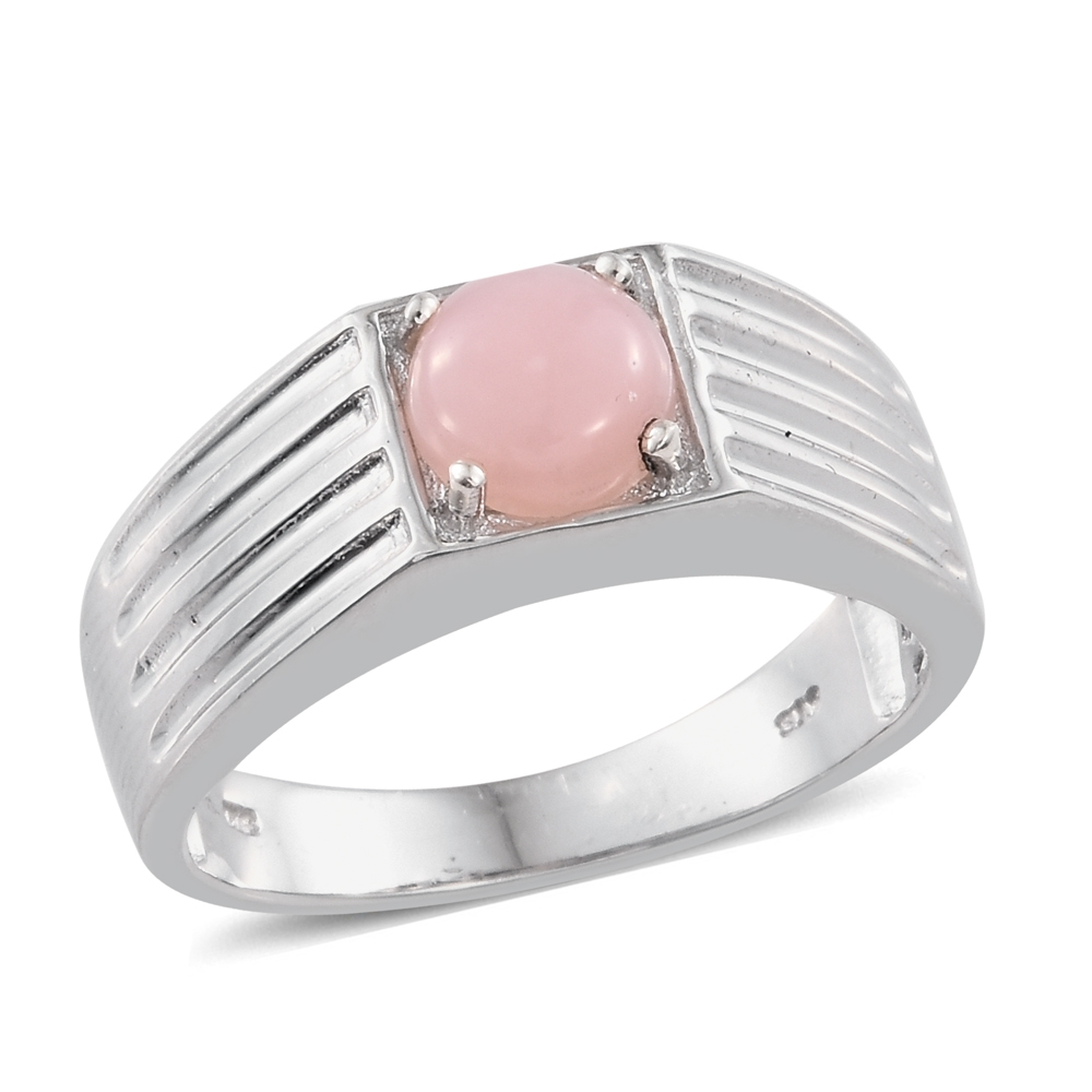Pink Opal Platinum Plated Silver Men's Ring by Shop LC