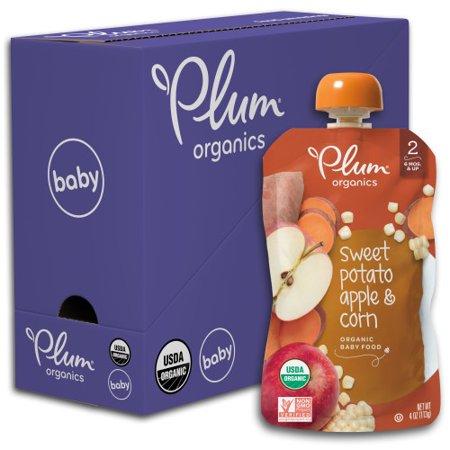 Butter Baby Corn - Plum Organics Stage 2, Organic Baby Food, Sweet Potato, Apple & Corn, 4oz Pouch (Pack of 6)