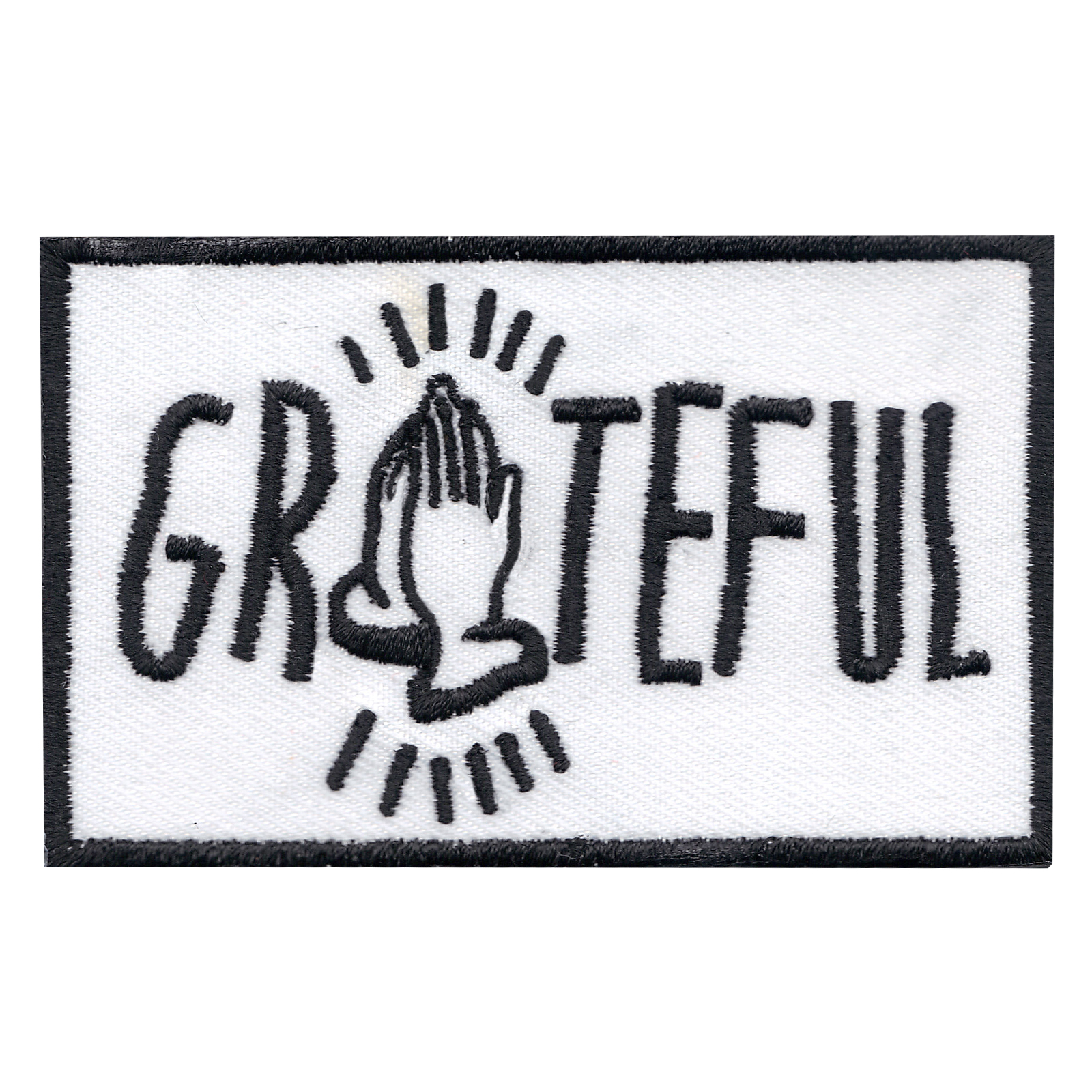 Praying Hands Grateful Iron On Applique Patch