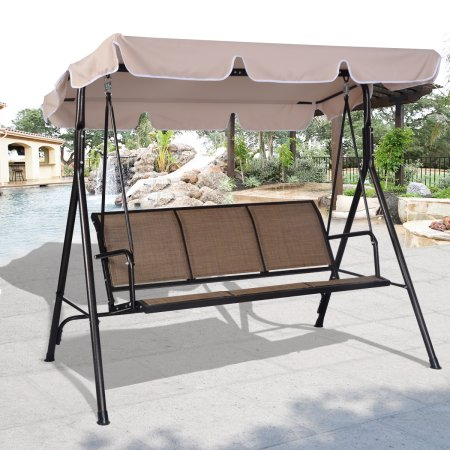 Captivating Costway 3 Person Outdoor Patio Swing Canopy Awning Yard Furniture Hammock  Steel Beige