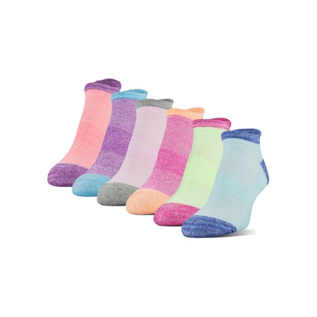 Athletic Works Women's Midcushion Zone Cushion No Show Socks, 6 Pairs Athletic 1/4 Length Socks