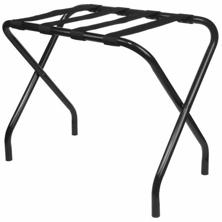 Pilaster Designs Donielle 27-Inch Black Metal Contemporary Foldable Luggage Rack Stand With Nylon Belts