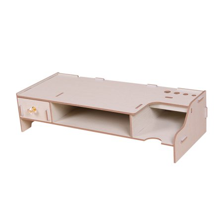 Wooden Monitor Stand Riser Computer Desk Organizer with Keyboard Mouse Storage Slots for Office Supplies School Teachers - Teacher Supply Store Nj