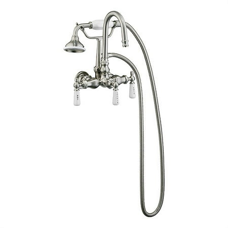 Barclay Leg Tub Wall Mount Faucet with Gooseneck Spout and Hand Shower (Contemporary Leg Tub)