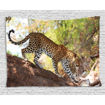 Zoo Tapestry, Leopard Panthera Pantus on Tree Nature Reserve Botswana Carnivore Animal, Wall Hanging for Bedroom Living Room Dorm Decor, 60W X 40L Inches, Green Light Brown White, by - Leopard Tapestry