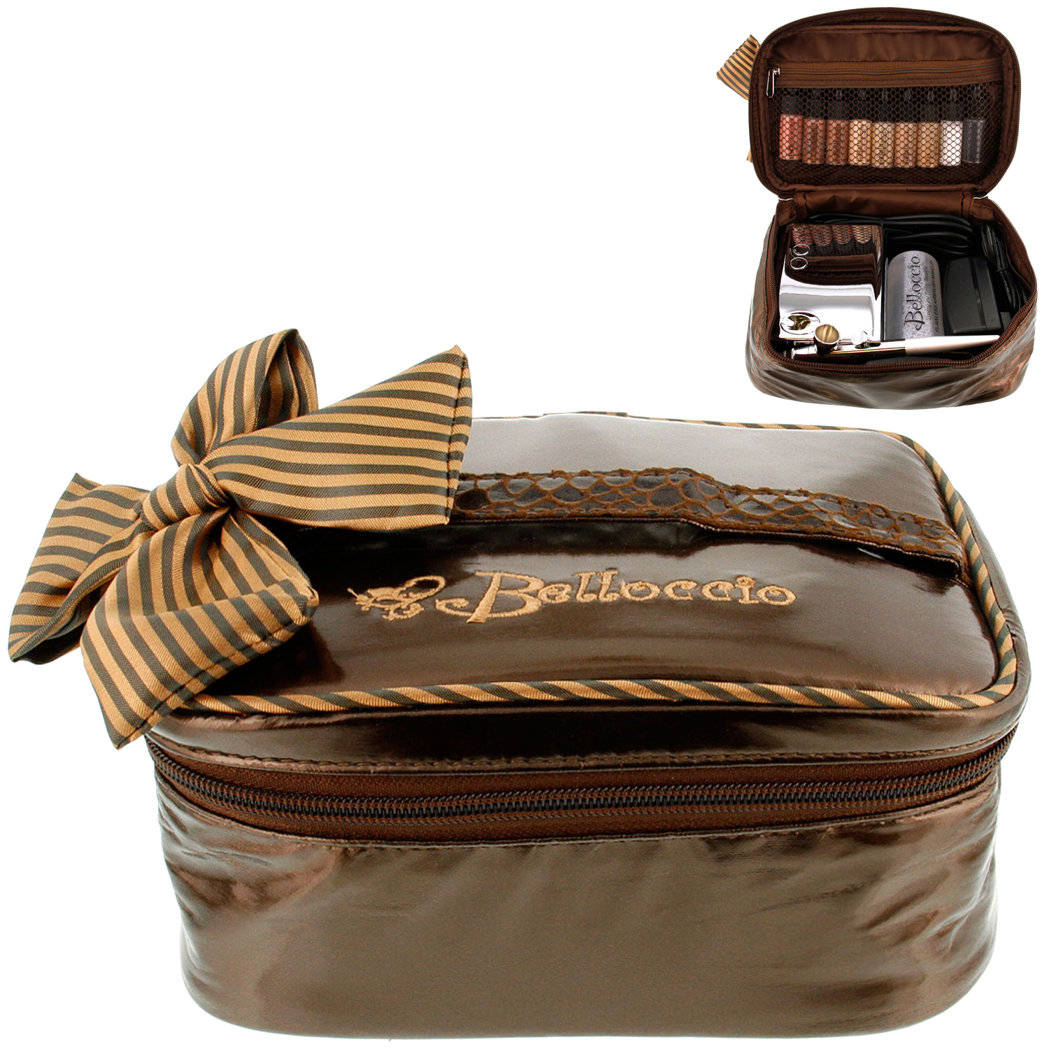Belloccio Airbrush Makeup Travel Carry Bag Brown Cosmetic Organizer Storage Case