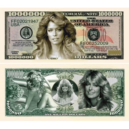 "5 Farrah Fawcett Million Dollar Bills with Bonus ""Thanks a Million"" Gift Card Set"