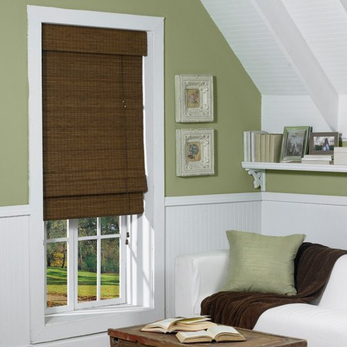Radiance Cape Cod Indoor/Outdoor Woven Wood Bamboo Roman Shade with 6 in. Valance