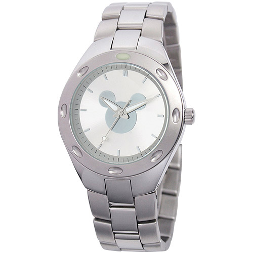 Disney Mickey Mouse Men's Fortaleza Stainless Steel Watch, Silver Bracelet